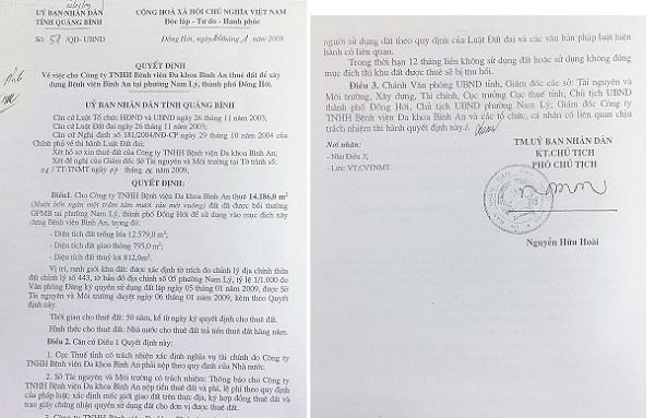 """Quyết định cho thuê đất của UBND tỉnh Quảng Bình nếu rõ: """"Trong thời gian 12 tháng liền Công ty không sử dụng đất, hoặc sử dụng không đúng mục đích thì khu đất cho thuê sẽ bị thu hồi""""…"""